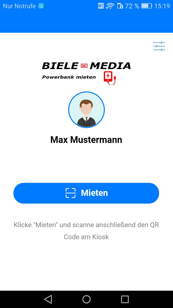 Powerbank App erste Seite